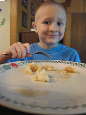 Josiah eating pancakes