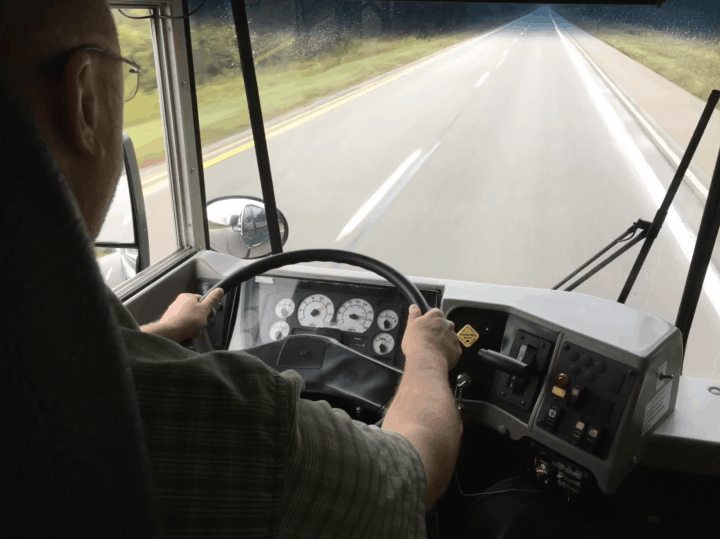 Kevin driving Bus